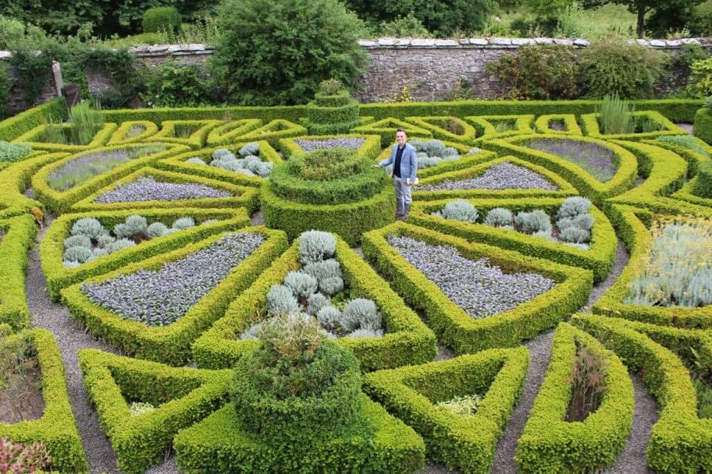 A formal parterre garden in Wales