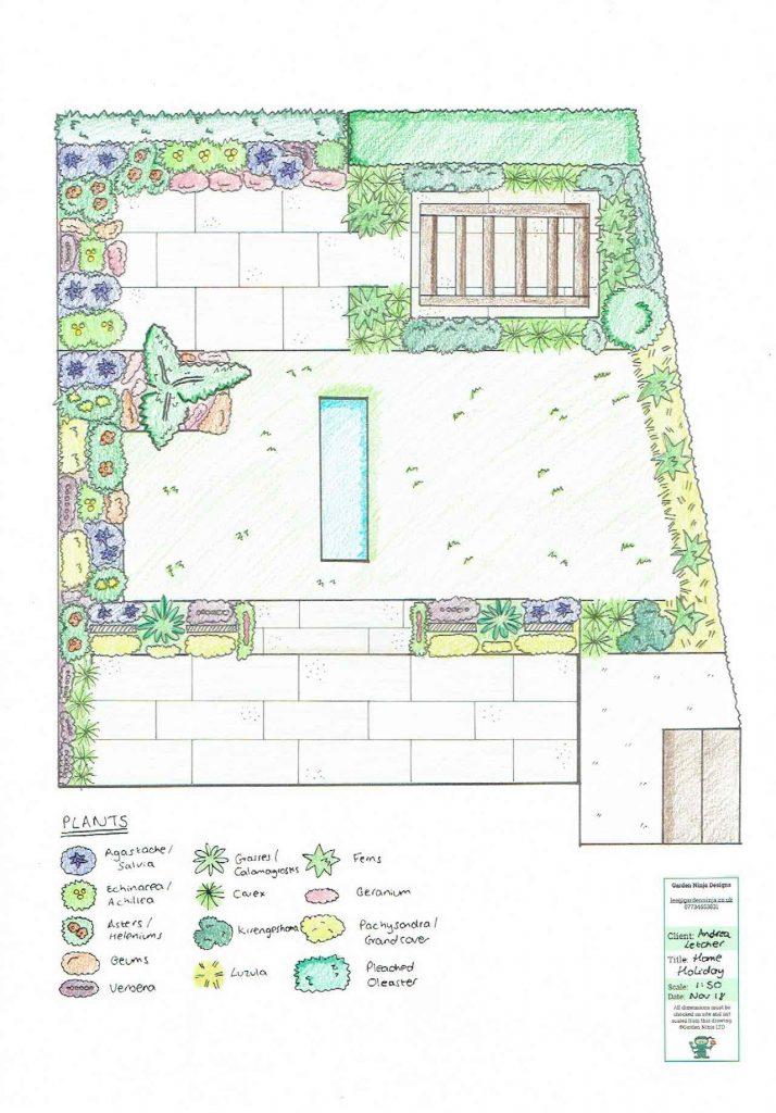 A plan view of a contemporary garden design by Garden Ninja