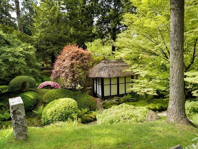 A japanese tea room in a garden