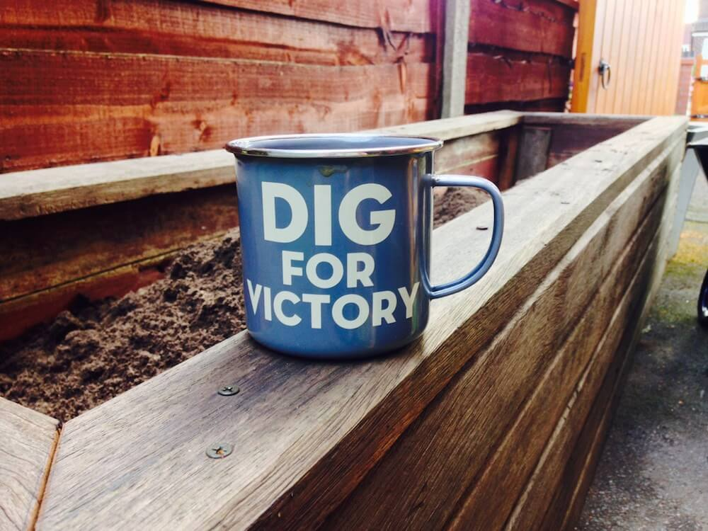 A mug with dig for victory on it