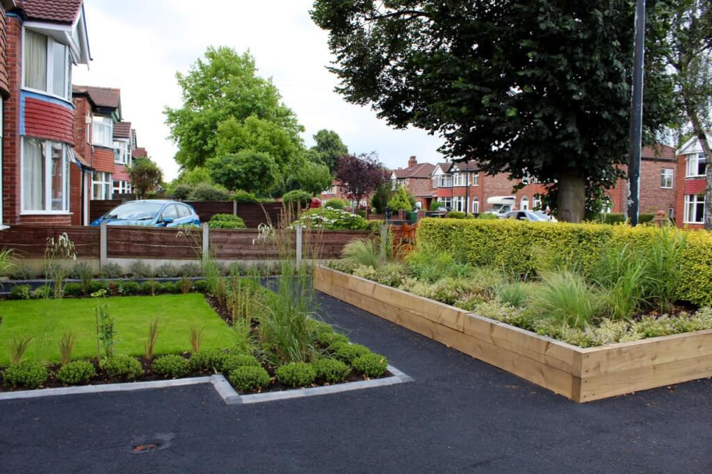 A asymmetrical front garden design