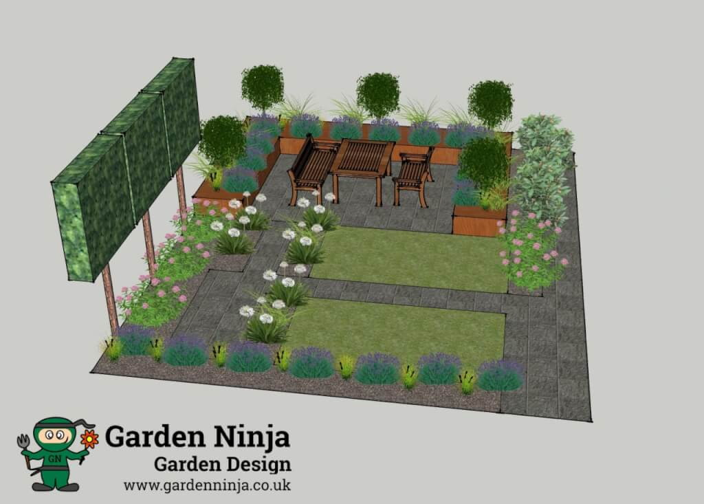 A sketchup render of a small back garden design