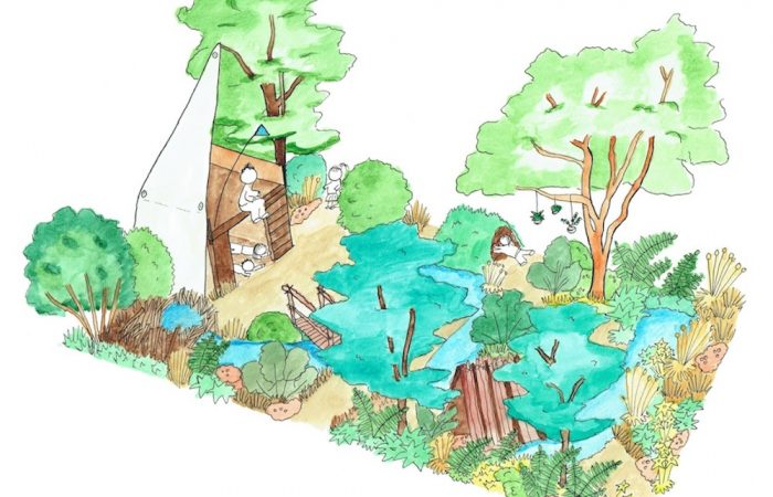 A water colour picture of a childs playground
