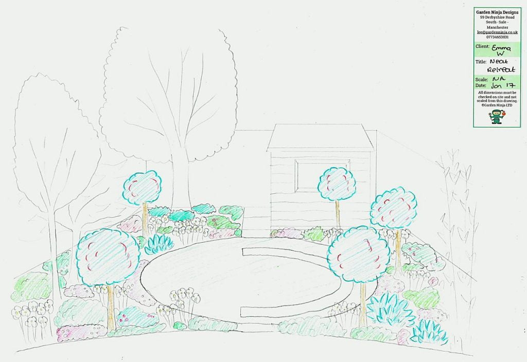 Sketch of an overlooked back garden