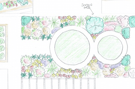 A hand sketch of a child friendly garden design by Garden Ninja