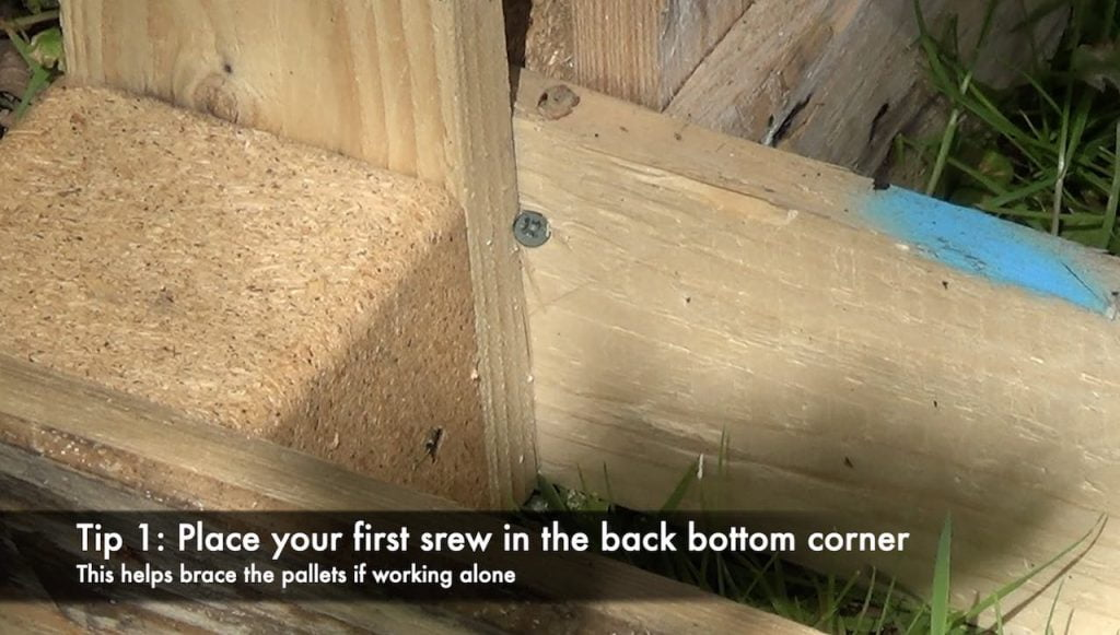 Compost bin pallets and screws
