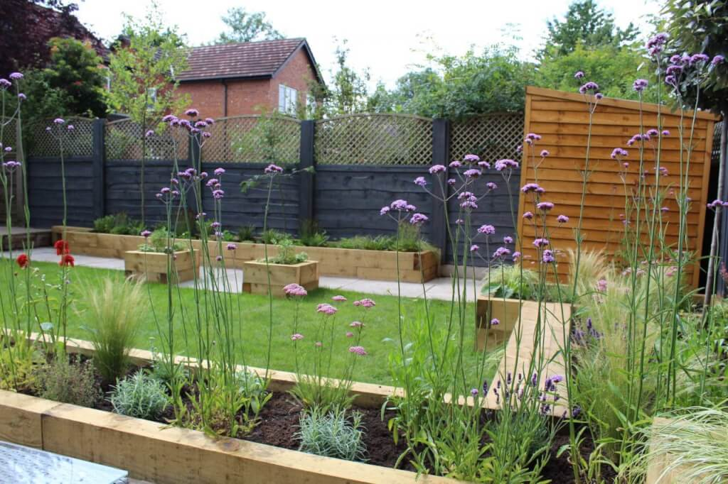 A modern family garden with verbena and pathways