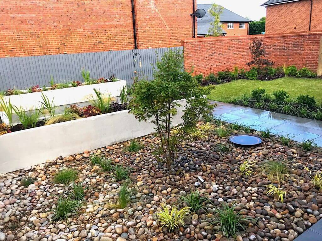 A modern garden with seating area and raised beds