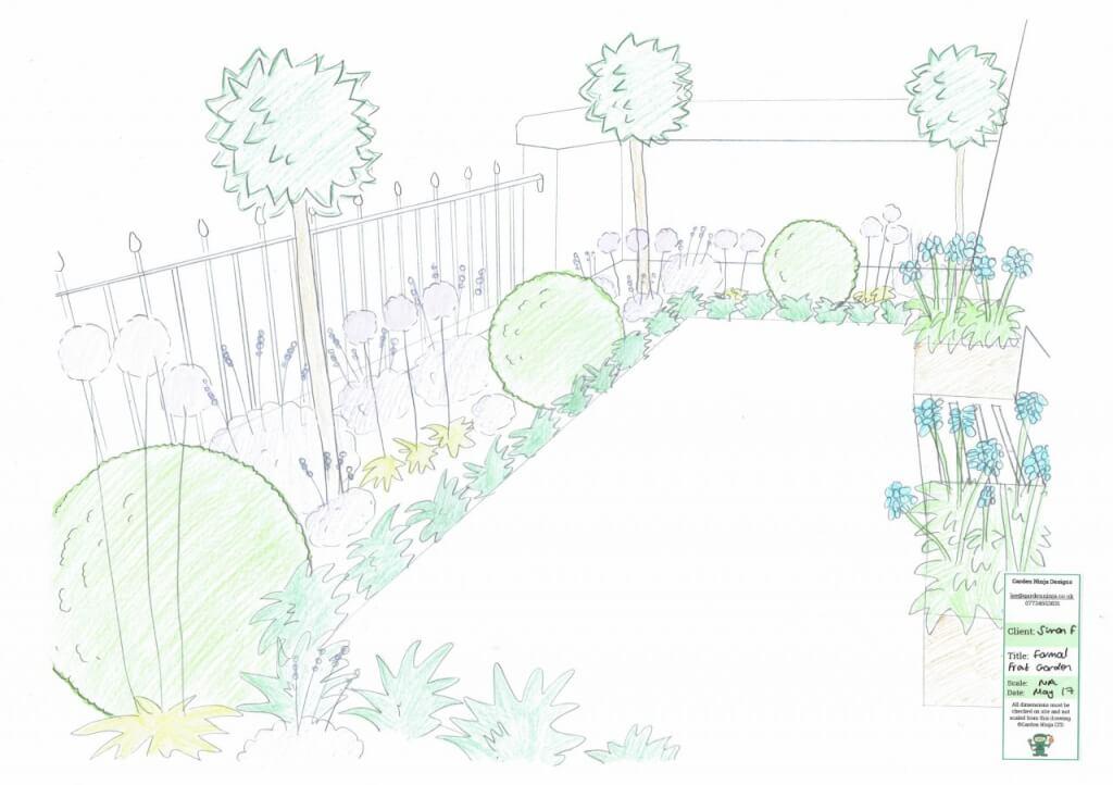 A hand drawn front garden design by award winning Lee Burkhill the Garden Ninja