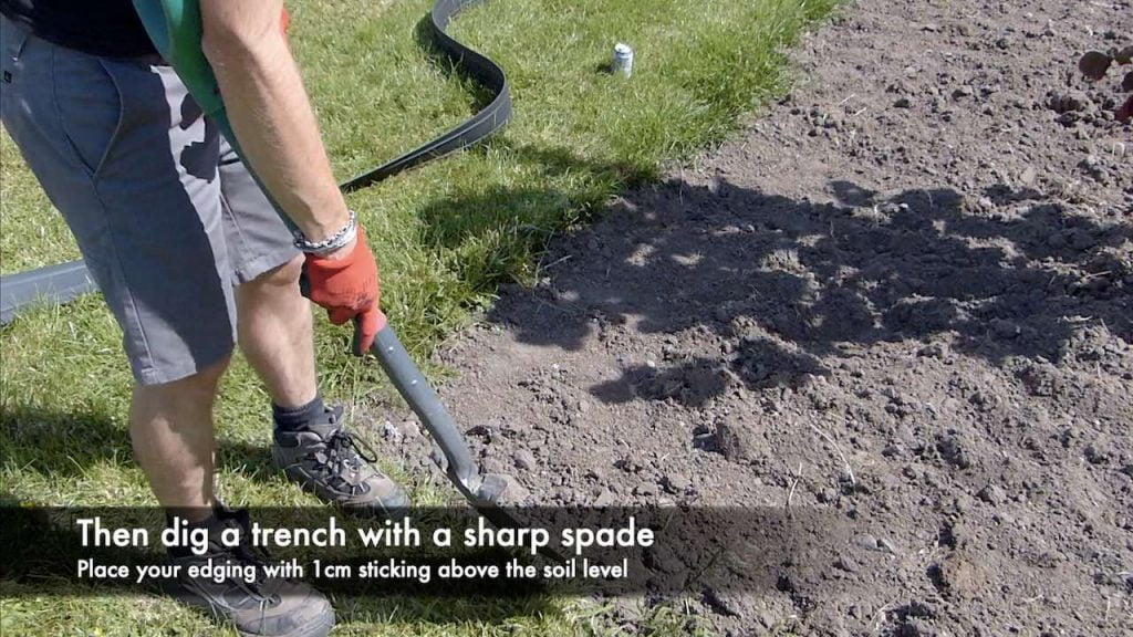 Digging a trench for lawn edging