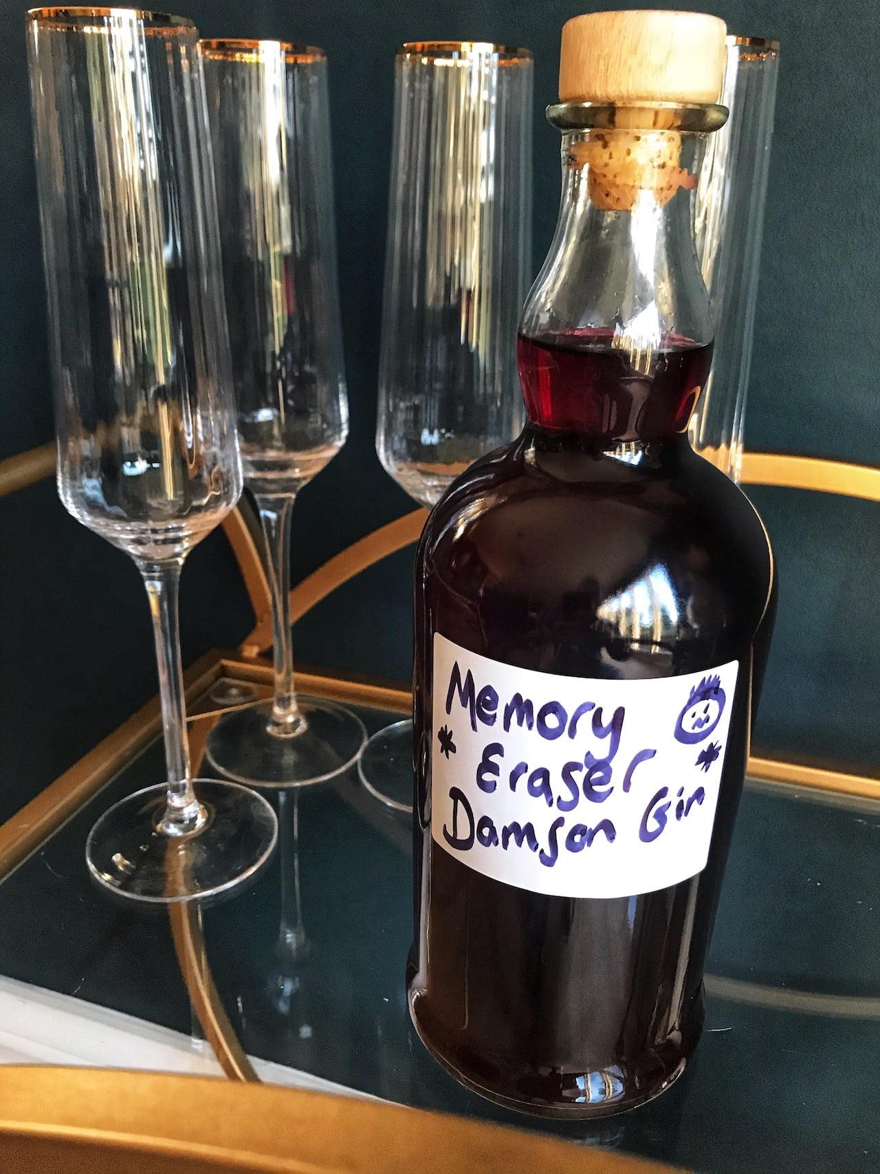 Damson gin on a shelf