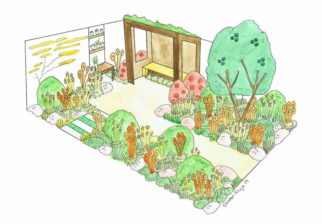 A water colour render of the Dianne Oxberry Sunshine Garden