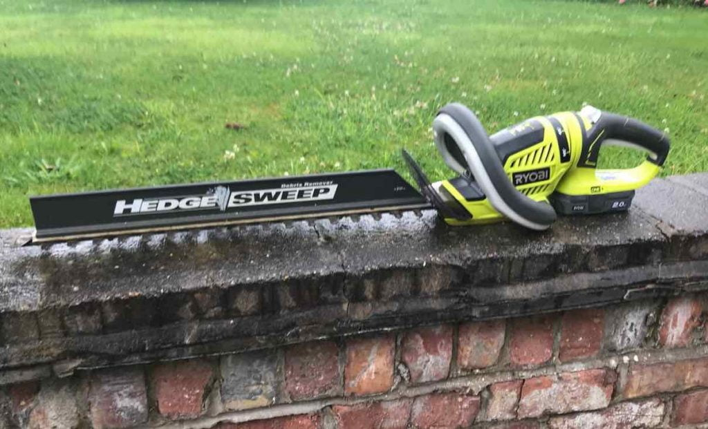 Ryobi hedge clippers on a wall