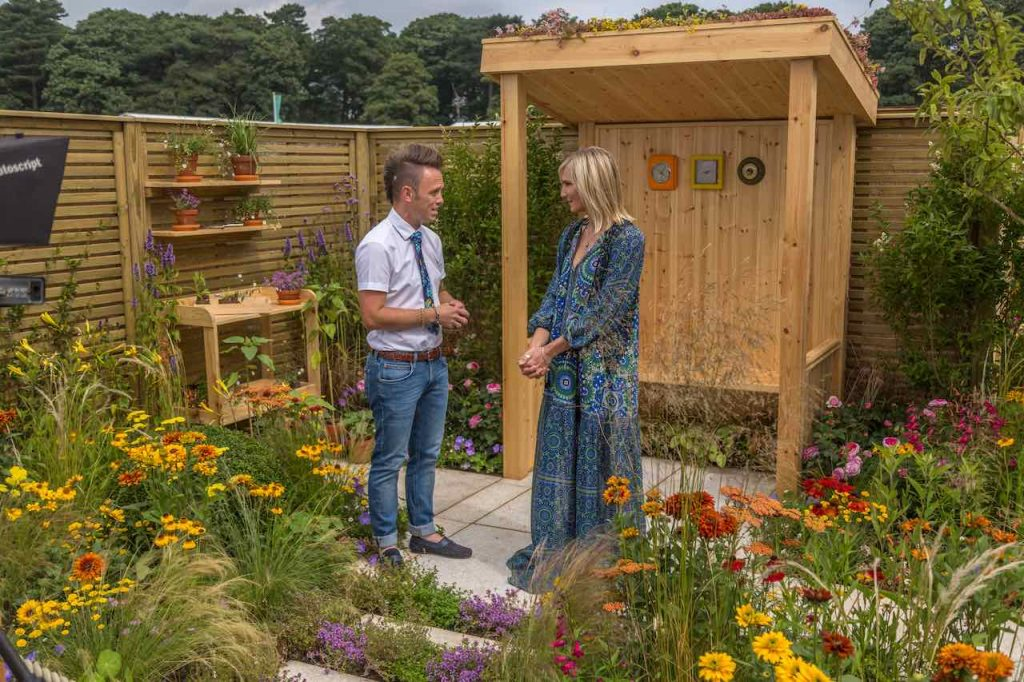 Lee Burkhill talking to Jo Whiley at RHS Tatton 2019