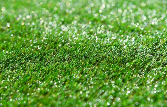 Fake artificial grass shining in light