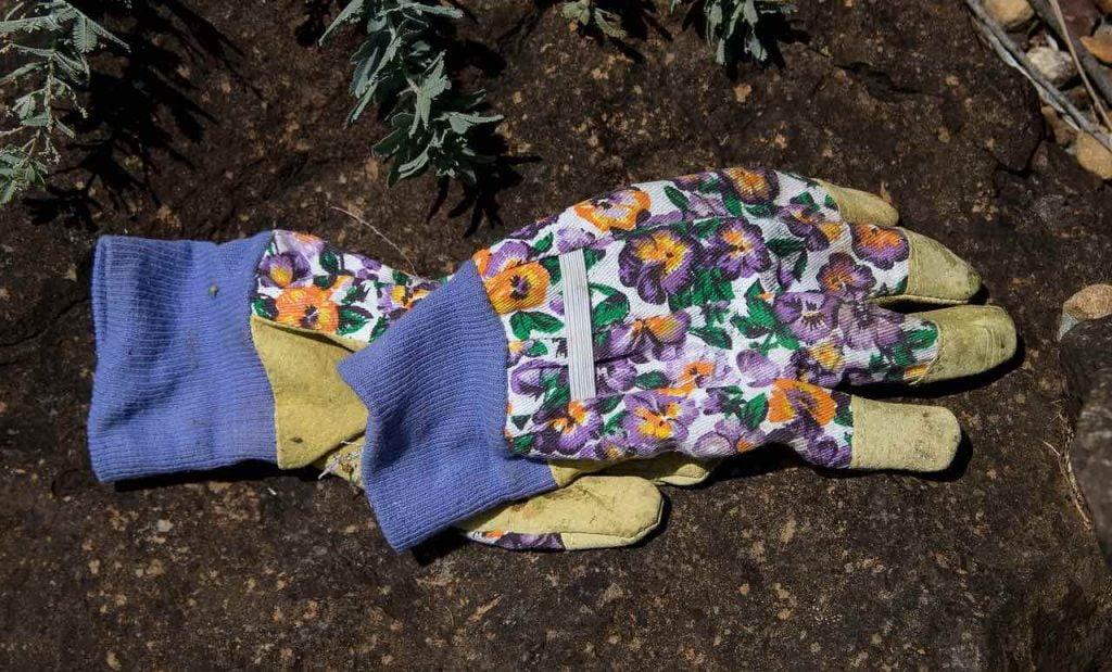 flowery gardening gloves on soil
