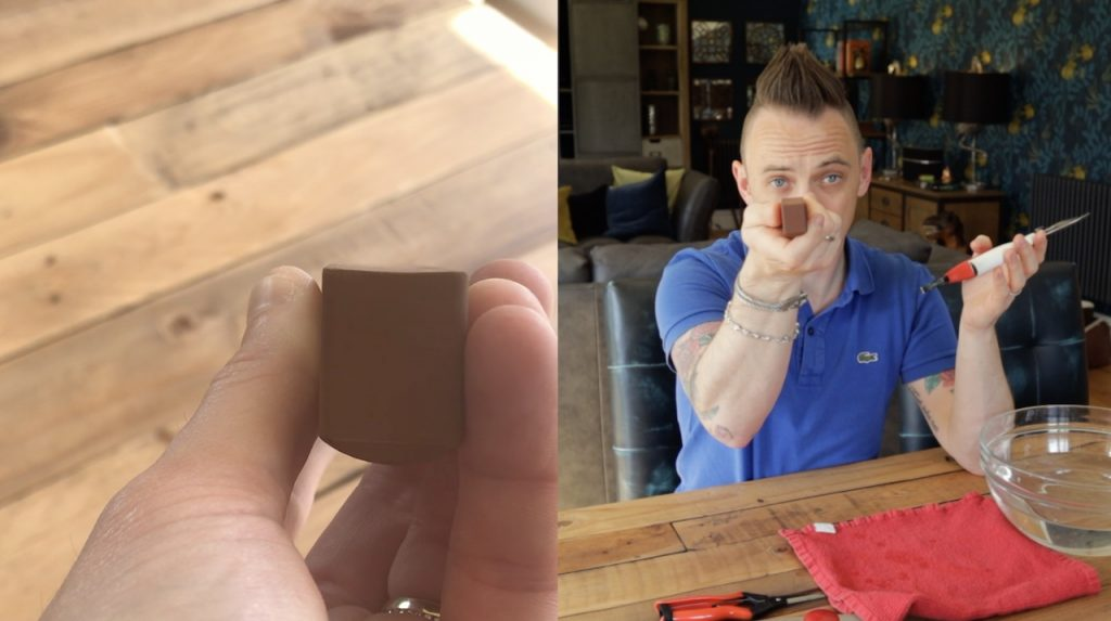 Lee shows the concave nature of a sharpening stone