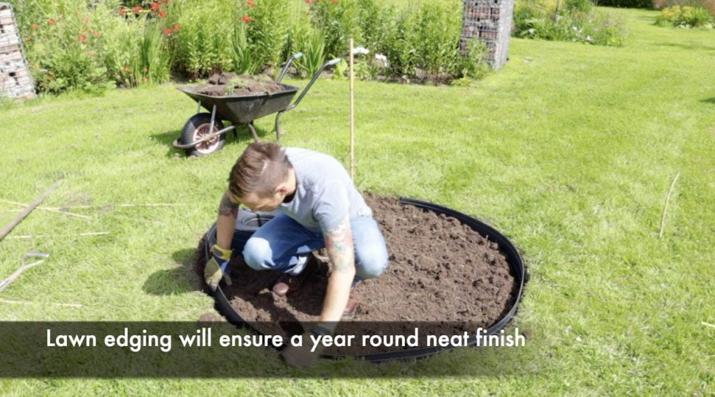 Garden Ninja fitting lawn edging for a fire pit