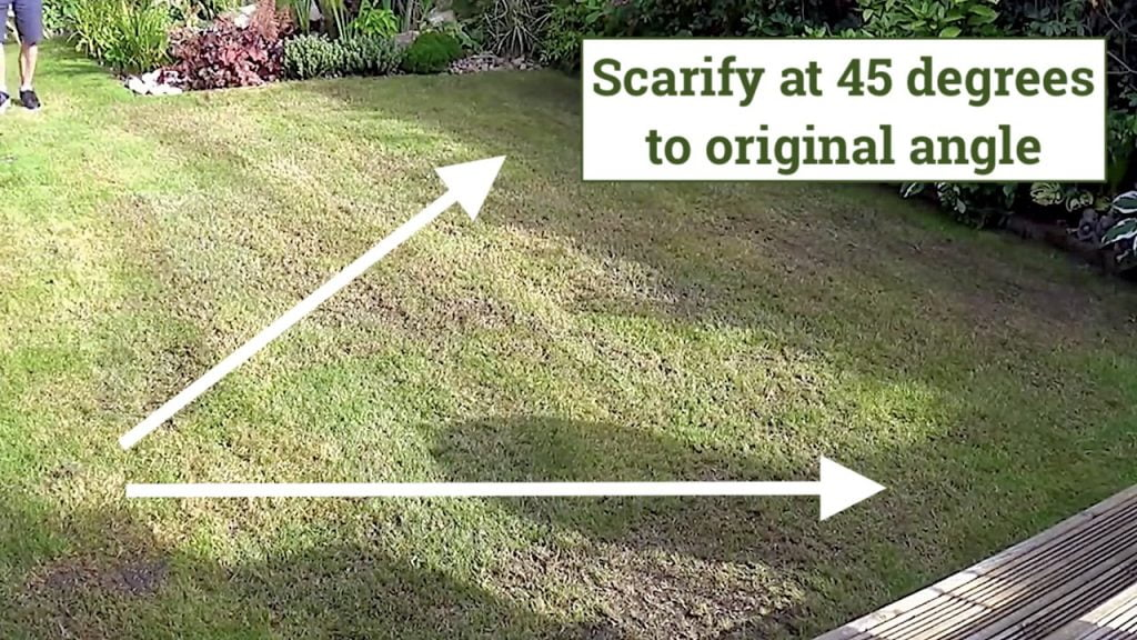 The correct angle to scarify a lawn