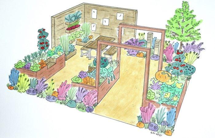 Lee Burkhills 2021 Show Garden Community Garden Render