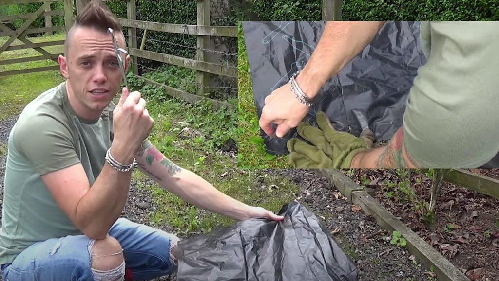 Using black bin liners to remove garden weeds