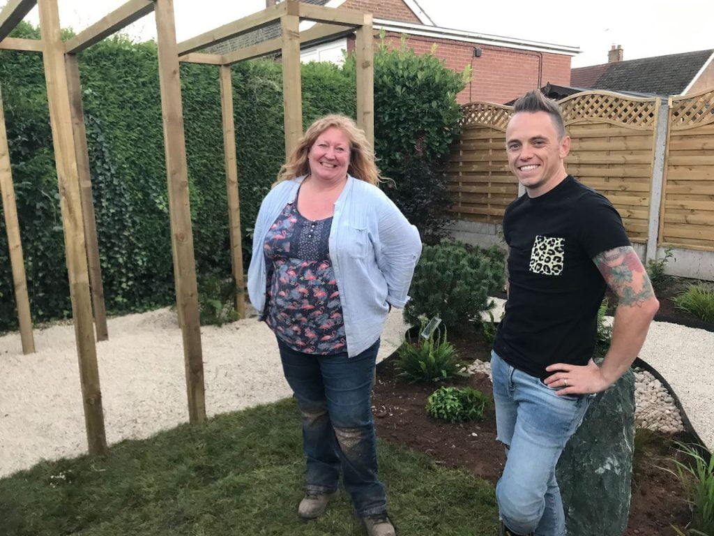 Lee Burkhill with Charlie Dimmock from Garden rescue